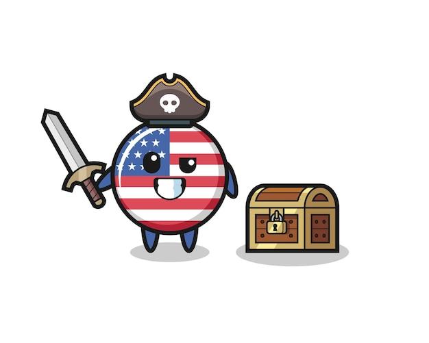 O personagem pirata com o emblema da bandeira dos estados unidos segurando uma espada ao lado de uma caixa de tesouro, design de estilo fofo para camiseta, adesivo, elemento de logotipo