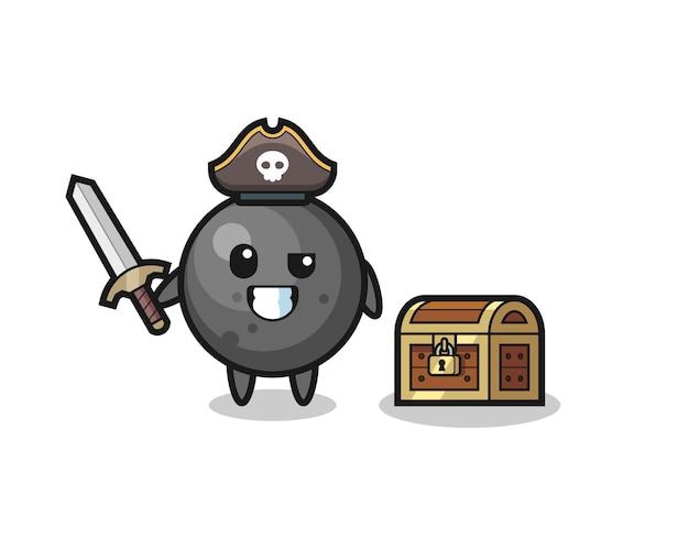 O personagem pirata com uma bola de canhão segurando uma espada ao lado de uma caixa de tesouro, design de estilo fofo para camiseta, adesivo, elemento de logotipo