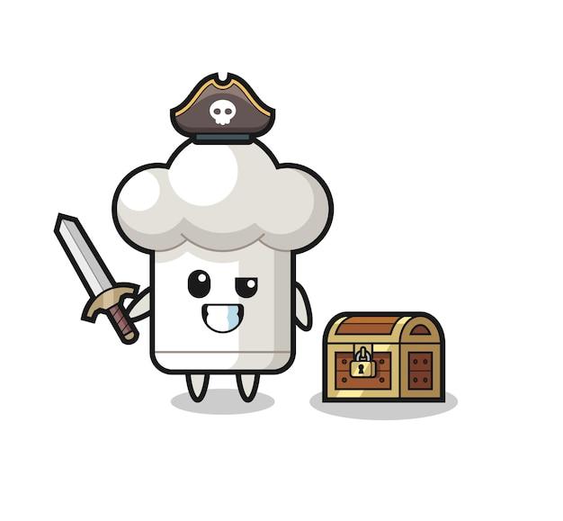 O personagem pirata de chapéu de chef segurando uma espada ao lado de uma caixa de tesouro, design de estilo fofo para camiseta, adesivo, elemento de logotipo