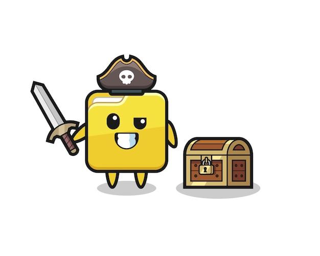 O personagem pirata de pasta segurando uma espada ao lado de uma caixa de tesouro, design de estilo fofo para camiseta, adesivo, elemento de logotipo