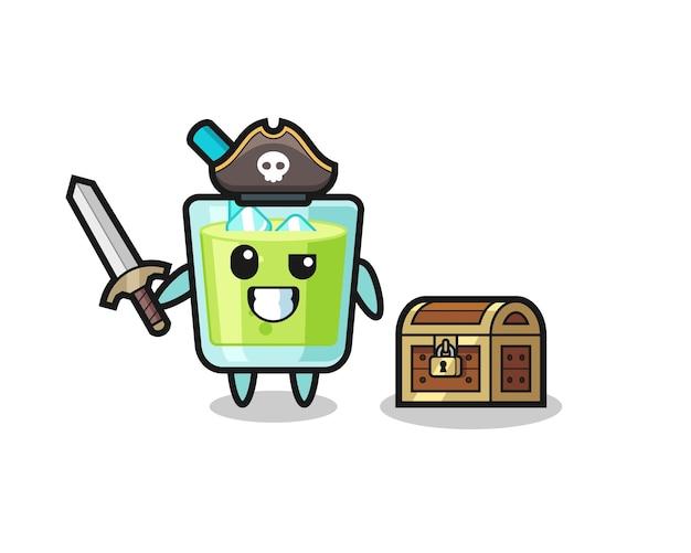 O personagem pirata de suco de melão segurando uma espada ao lado de uma caixa de tesouro, design de estilo fofo para camiseta, adesivo, elemento de logotipo