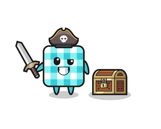 O personagem pirata de toalha de mesa quadriculada segurando uma espada ao lado de uma caixa de tesouro, design de estilo fofo para camiseta, adesivo, elemento de logotipo