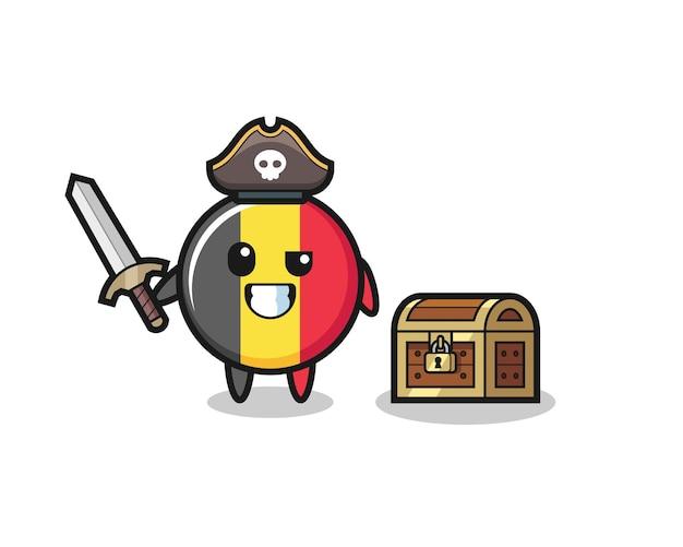 O personagem pirata do emblema da bandeira da bélgica segurando uma espada ao lado de uma caixa de tesouro, design de estilo fofo para camiseta, adesivo, elemento de logotipo