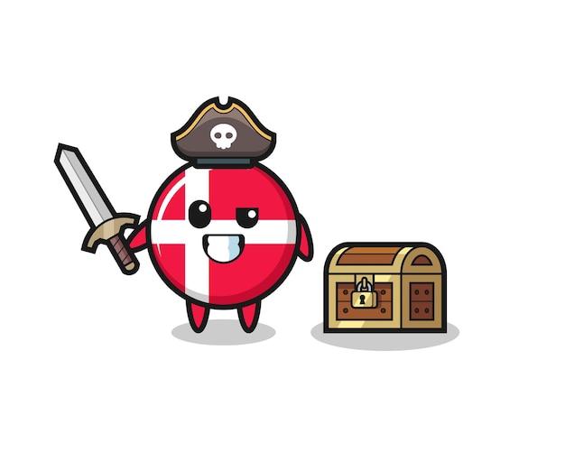 O personagem pirata do emblema da bandeira da dinamarca segurando uma espada ao lado de uma caixa de tesouro, design de estilo fofo para camiseta, adesivo, elemento de logotipo