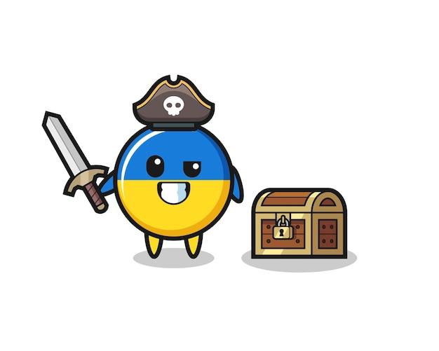 O personagem pirata do emblema da bandeira da ucrânia segurando uma espada ao lado de uma caixa de tesouro, design de estilo fofo para camiseta, adesivo, elemento de logotipo