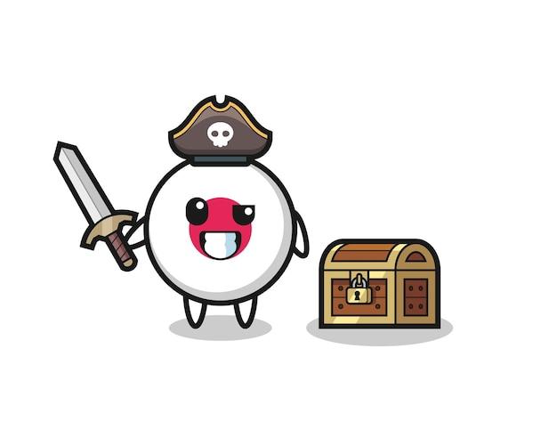 O personagem pirata do emblema da bandeira do japão segurando uma espada ao lado de uma caixa de tesouro, design de estilo fofo para camiseta, adesivo, elemento de logotipo