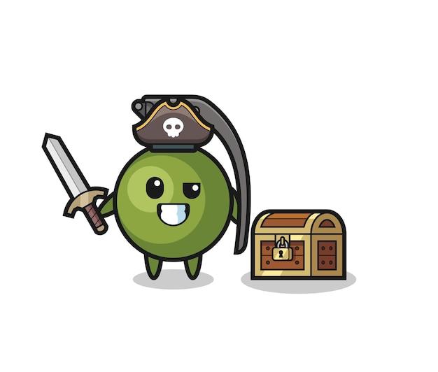O personagem pirata granada segurando uma espada ao lado de uma caixa de tesouro, design de estilo fofo para camiseta, adesivo, elemento de logotipo