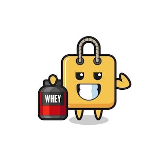 O personagem sacola de compras musculoso está segurando um suplemento de proteína, design de estilo fofo para camiseta, adesivo, elemento de logotipo