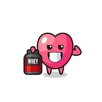 O personagem símbolo do coração musculoso está segurando um suplemento de proteína, design de estilo fofo para camiseta, adesivo, elemento de logotipo
