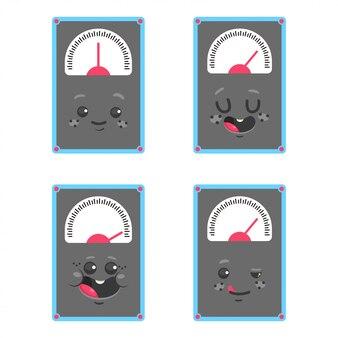 O peso bonito escala os personagens de banda desenhada ajustados isolados em um fundo branco.