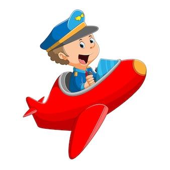 O piloto profissional está pilotando o avião colorido