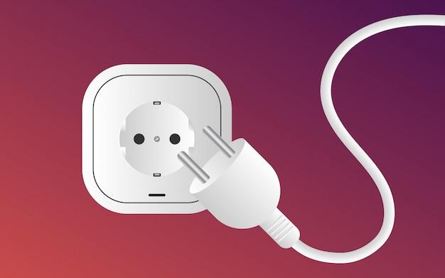 O pino branco do soquete de parede dois desconecta com o cabo distribuidor de corrente, estilo do inclinação da cor.