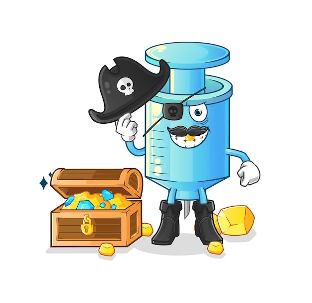 O pirata da seringa com o mascote do tesouro. desenho animado