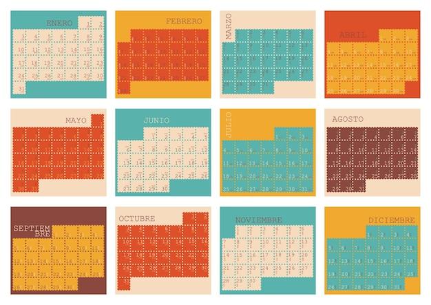 O planejador do calendário espanhol para a semana de 2022 começa na segunda-feira conjunto de 12 meses, janeiro, dezembro