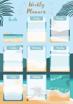 O planejador semanal começa no domingo com a lista de tarefas de praia