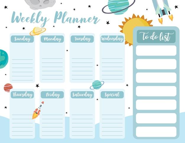 O planejador semanal começa no domingo com a lista de tarefas do galaxyspac