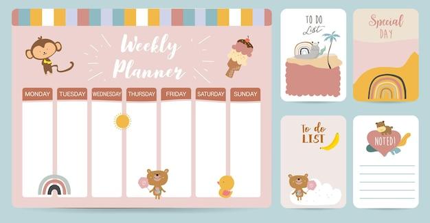 O planejador semanal começa no domingo com o animal e o sol, para fazer a lista que usa para impressão digital vertical e tamanho a4 a5