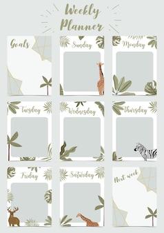O planejador semanal começa no domingo com o safari, para fazer a lista que usa para impressão digital vertical e tamanho a4 a5