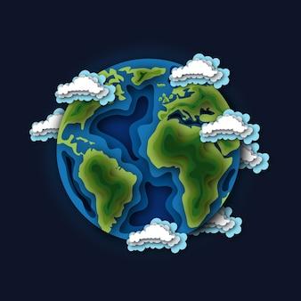 O planeta terra cercado por nuvens no espaço.