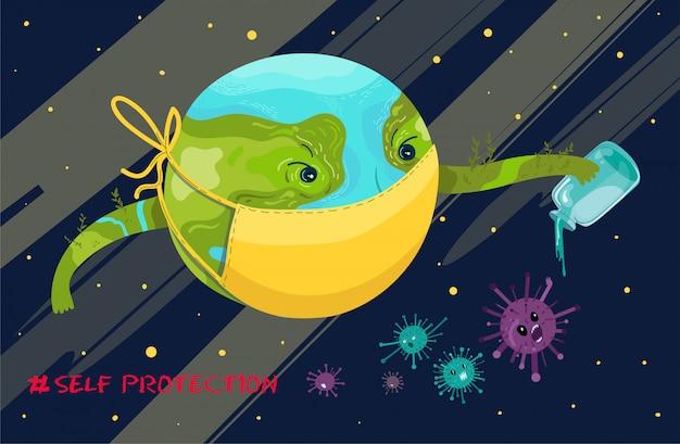 O planeta terra como personagem higieniza contra vírus e bactérias. Vetor Premium