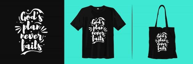 O plano de deus nunca falha. citações inspiradoras para design de t-shirt e sacola