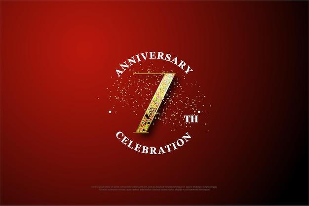 O plano de fundo para o sétimo aniversário com números dourados espalhados