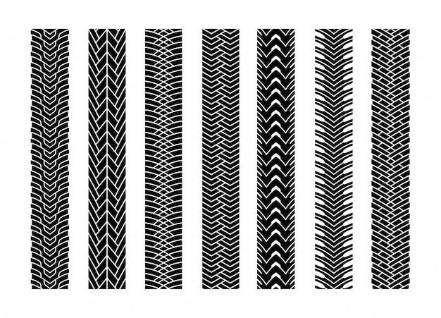 O pneu preto segue o carro ou o transporte da roda ajustado no teste padrão da textura da estrada para o automóvel. vetorial, ilustração, de, pista