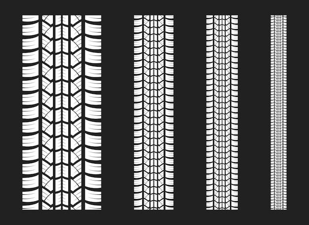 O pneu rastreia a ilustração do projeto do vetor isolada no fundo