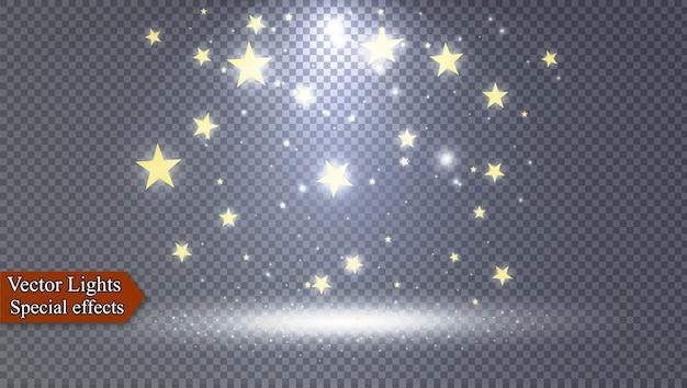 O pó é amarelo. faíscas amarelas e estrelas douradas brilham com luz especial. brilha em um fundo transparente. efeito de luz de natal. partículas de poeira mágica cintilante.