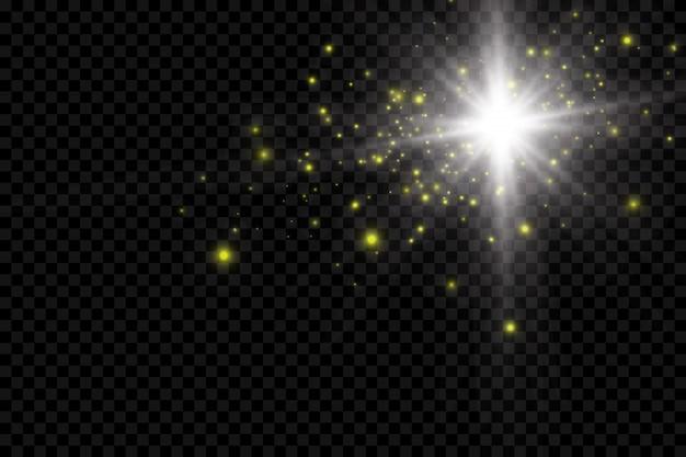 O pó é amarelo. faíscas amarelas e estrelas douradas brilham com uma luz especial. brilhos de vetor