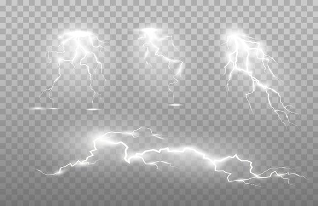 O poder do raio e descarga de choque, trovão, brilho