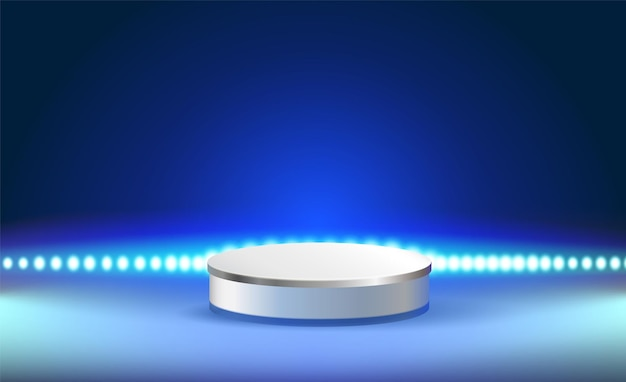 O pódio atrás das luzes led em uma atmosfera de fundo azul escuro