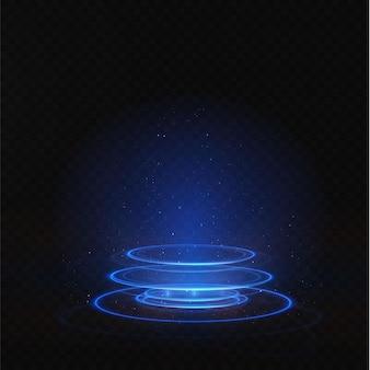 O pódio azul claro está vazio com os efeitos do destaque da linha neon.