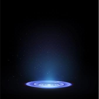 O pódio de luz está vazio com os efeitos do destaque da linha azul. pedestal de néon do pódio do illuminat.