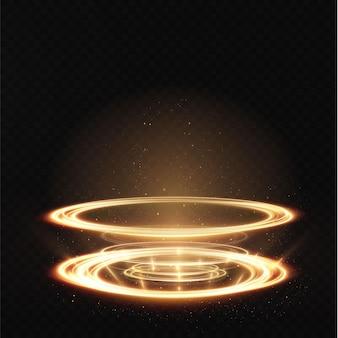 O pódio dourado claro está vazio com os efeitos do destaque da linha. pedestal do pódio do illuminat