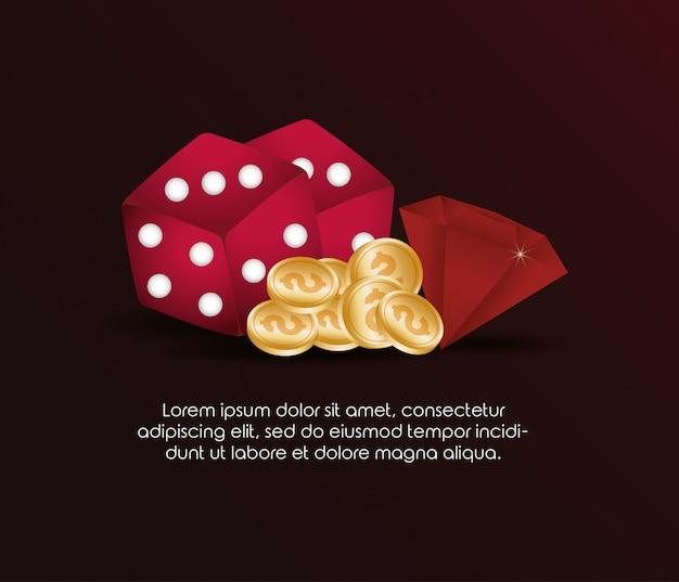 O poker do casino corta moedas e diamante do dólar