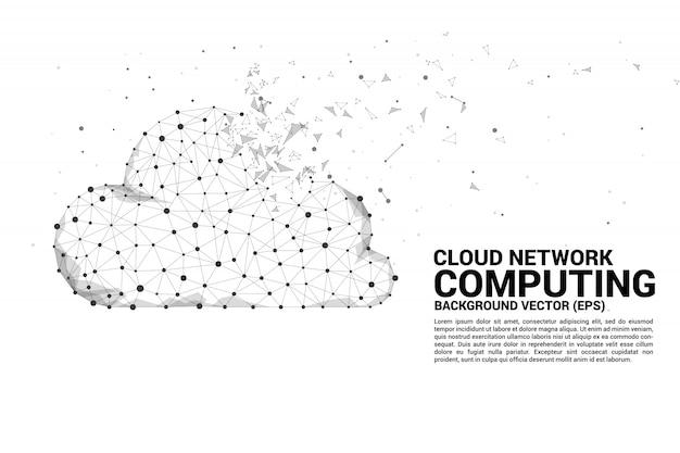 O ponto do polígono do conceito da rede de computação da nuvem conectou a linha.