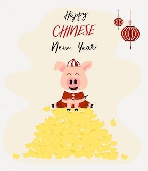 O porco cor-de-rosa bonito no terno chinês senta-se no barco dourado