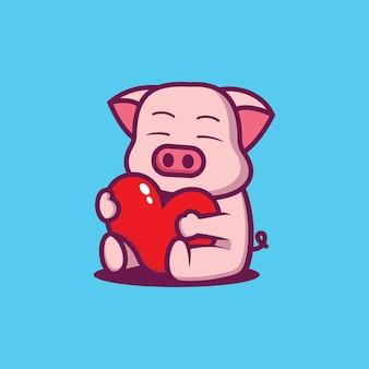 O porquinho fofo está sentindo amor