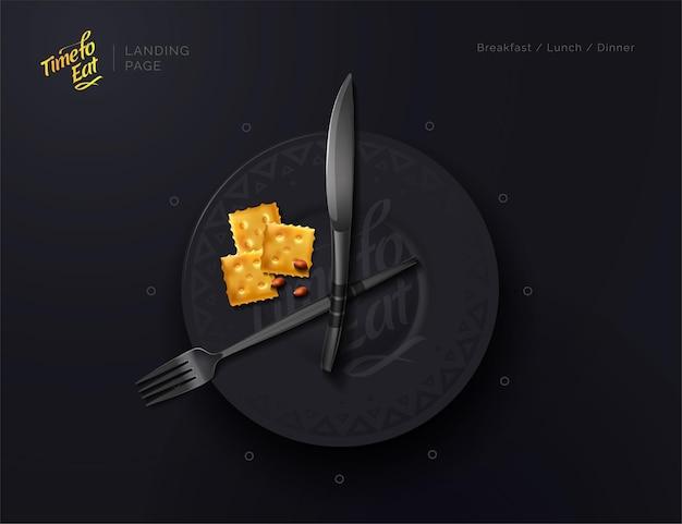 O prato é um relógio hora da refeição intervalo alimentar nutrição adequada ilustração em vetor moderna vista superior
