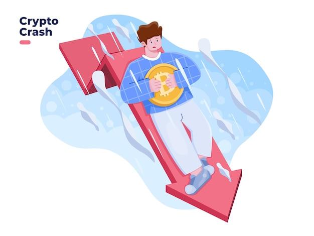 O preço da criptomoeda cai ou colapso do preço ilustração valor da criptografia para baixo com seta vermelha