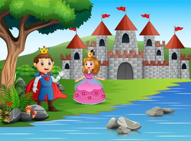 O príncipe e a princesa em uma bela paisagem
