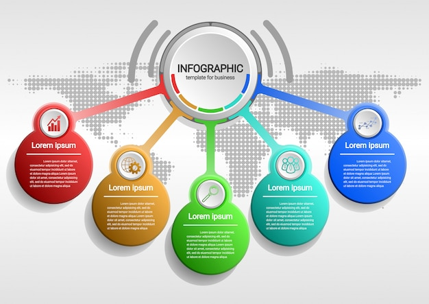 O processo de crescimento de negócios para o sucesso infográfico de dados. gráfico de apresentação.diagram com etapas