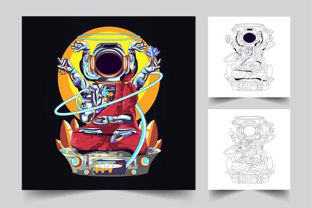 O processo de criação de um logotipo budha de astronauta
