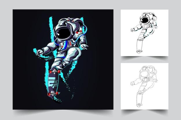 O processo de criação de um logotipo de longboard de astronauta