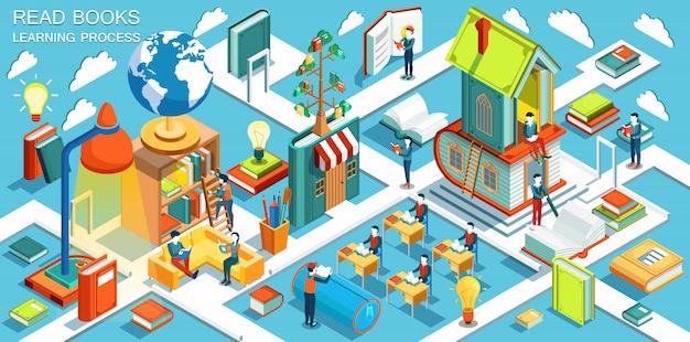 O processo de educação, o conceito de aprender e ler livros na biblioteca e na sala de aula. design plano isométrico.