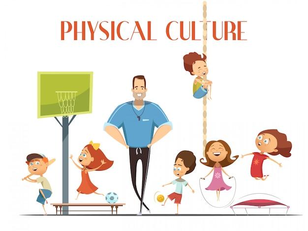 O professor de cultura física da escola primária gosta de instalações esportivas modernas com crianças jogando basquete e