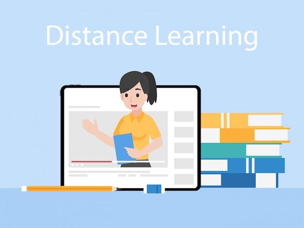 O professor em linha na tabuleta monitora a educação de ensino, conceito da televisão do ensino à distância.