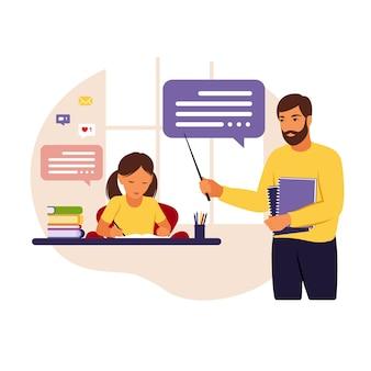 O professor ensina a menina em casa ou na escola. ilustração conceitual para escola, educação e educação escolar em casa. professor ajudando a garota com a lição de casa.
