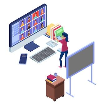 O professor nomeia um aluno em um vídeo de comunicação on-line. conceito de ensino eletrónico com o conceito de ilustração de reunião on-line.